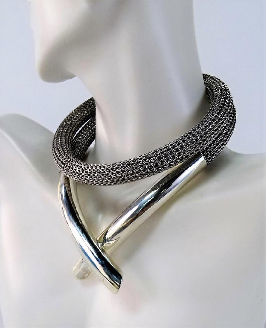 MODERN STERLING & STAINLESS STEEL CHOKER NECKLACE