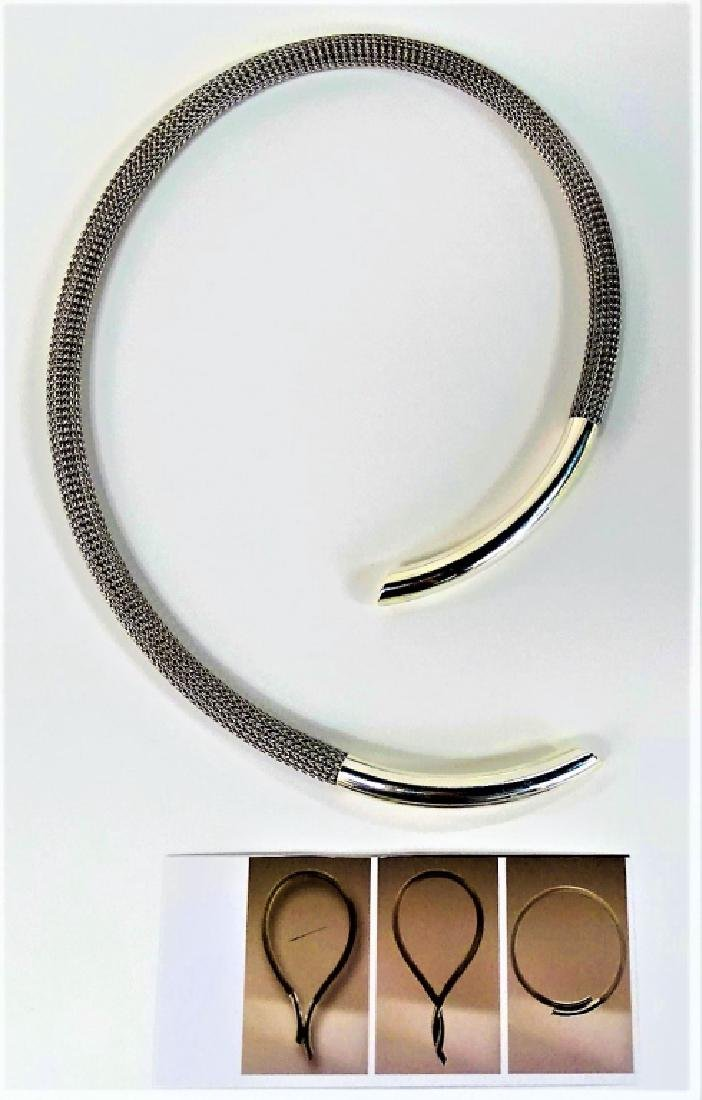 MODERN STERLING & STAINLESS STEEL CHOKER NECKLACE - 3