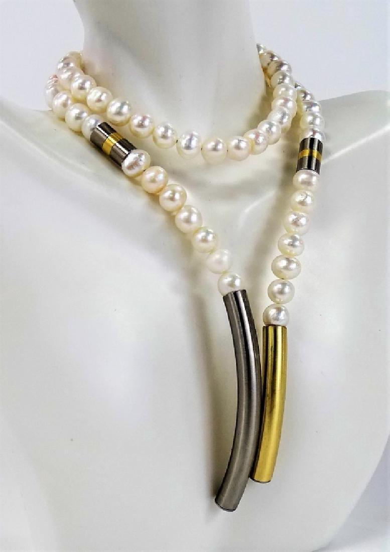 MODERN FRESHWATER PEARL & STAINLESS STEEL NECKLACE - 2