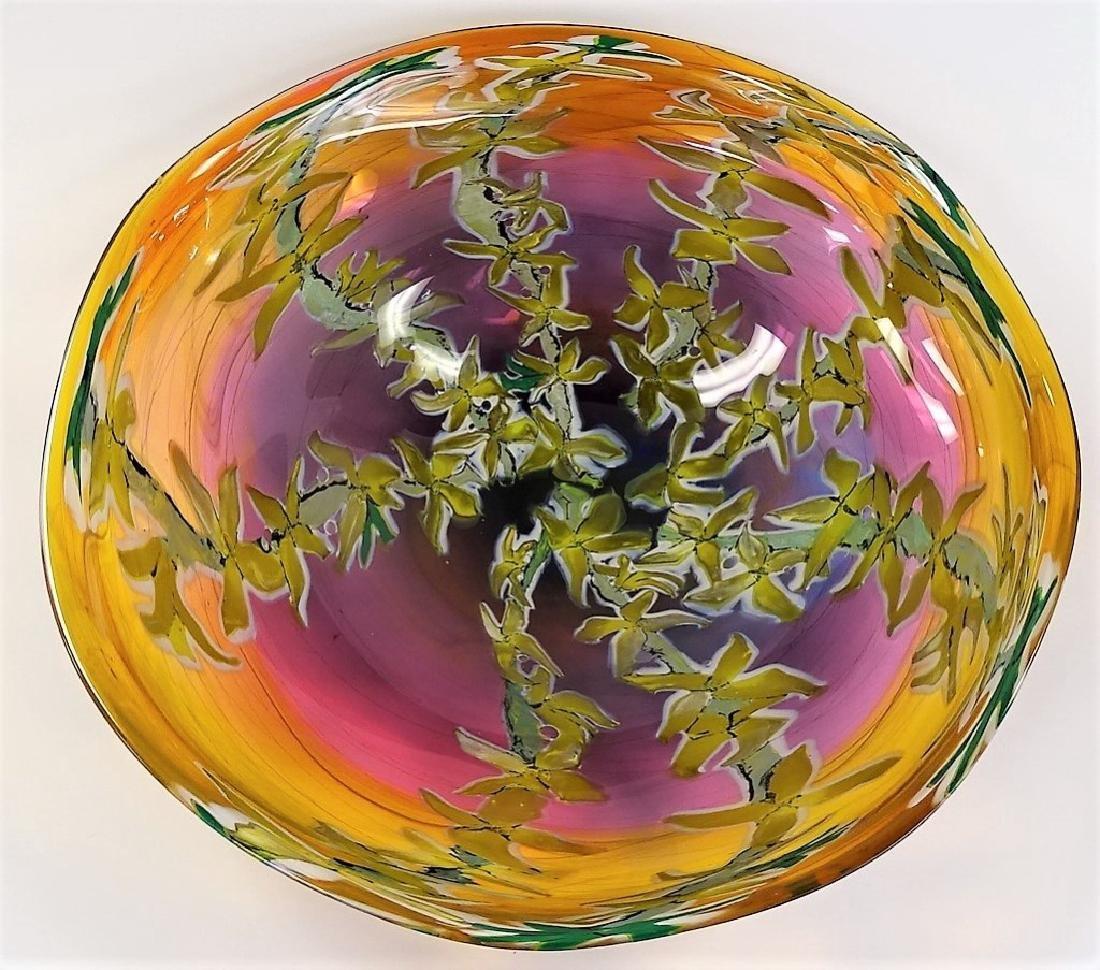 RICK & VALERIE BECK ART GLASS CENTERPIECE BOWL