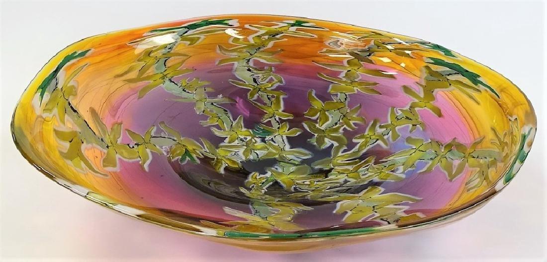 RICK & VALERIE BECK ART GLASS CENTERPIECE BOWL - 2