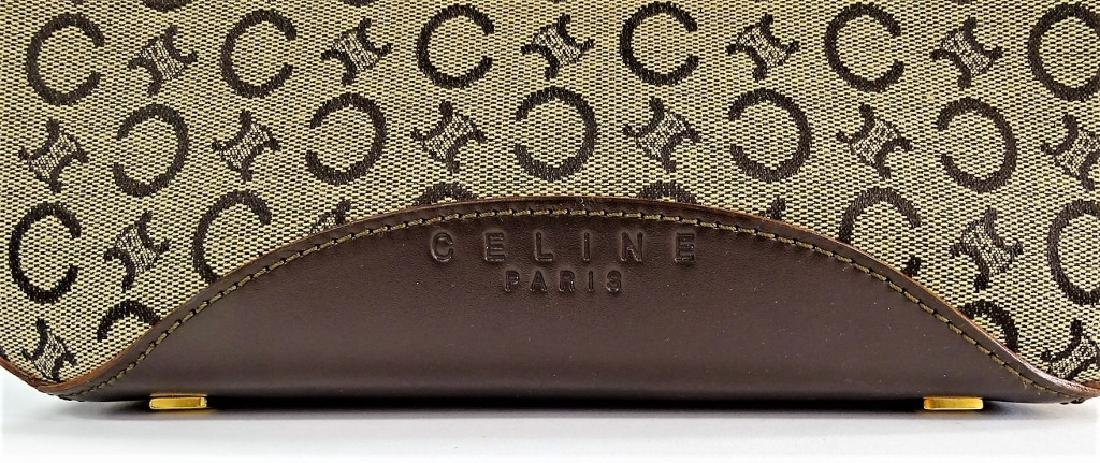 CELINE PARIS MONOGRAM LEATHER & CANVAS HANDBAG - 2