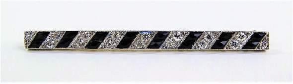 LADIES DECO PLATINUM, DIAMOND, & ONYX BAR PIN