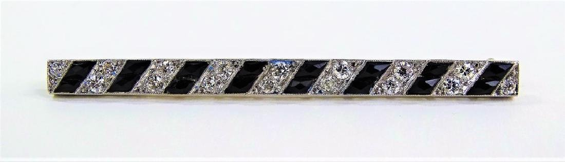 LADIES DECO PLATINUM, DIAMOND, & ONYX BAR PIN