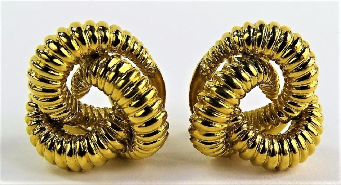 VINTAGE PR OF ITALIAN 18KT YG KNOTTED EARRINGS