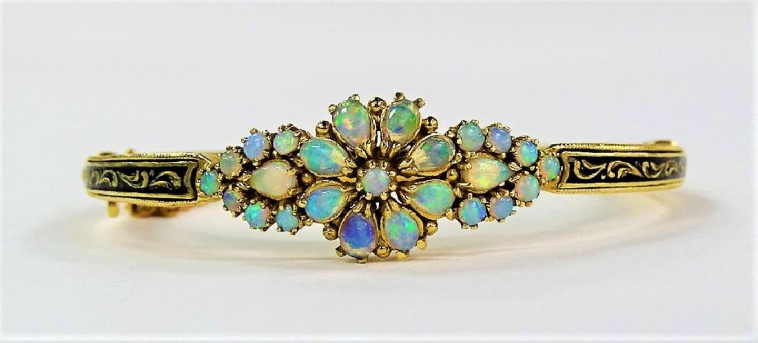 FANCY 14KT YG ENAMELED OPAL BANGLE BRACELET