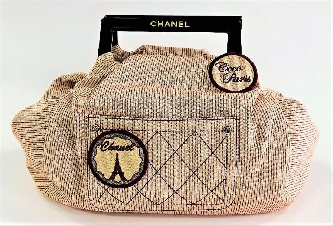 CHANEL STRIPED CANVAS COCO PARIS RUNWAY HANDBAG