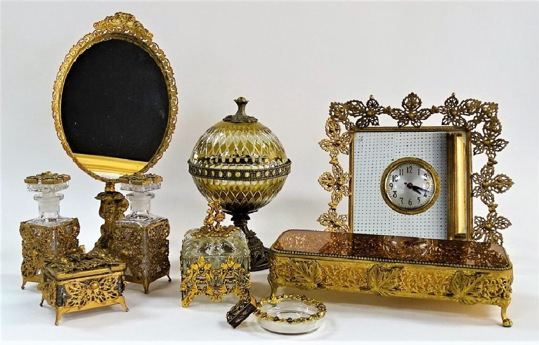11 BRASS AND CRYSTAL ASSORTED VANITY SET