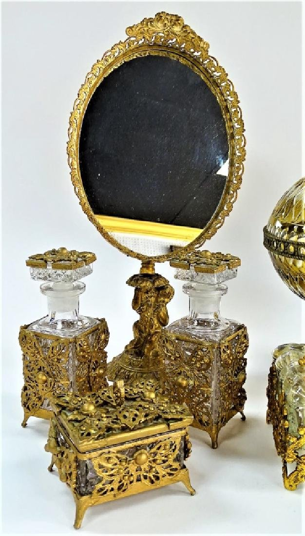 11 BRASS AND CRYSTAL ASSORTED VANITY SET - 2