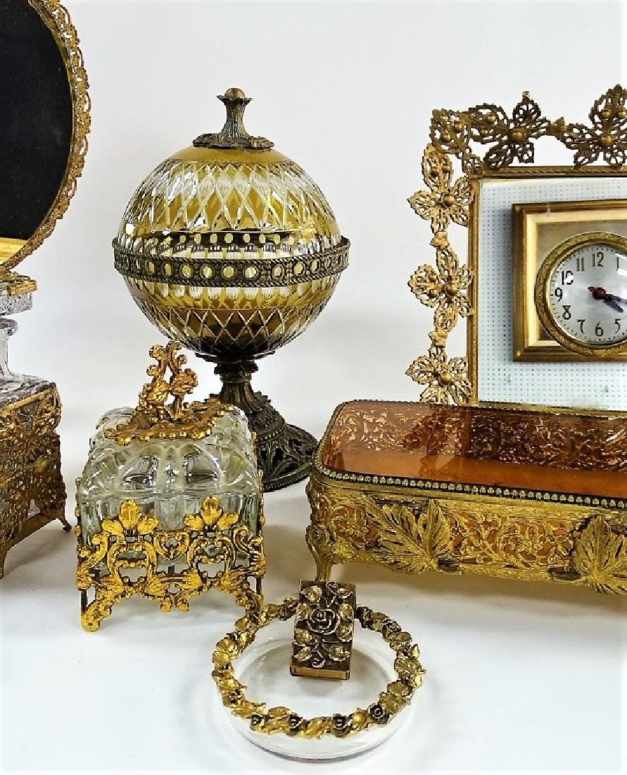 11 BRASS AND CRYSTAL ASSORTED VANITY SET - 3