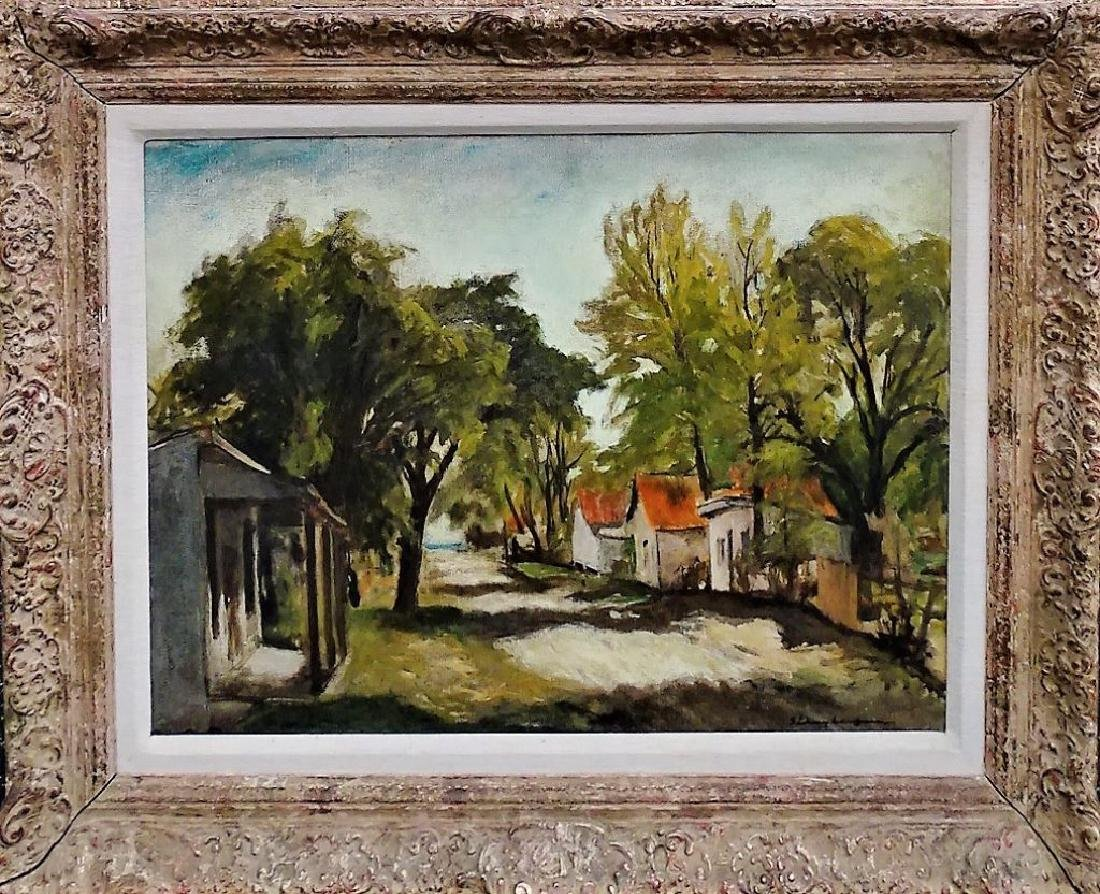 LARGE OIL ON CANVAS OF A VILLAGE SCENE SIGNED