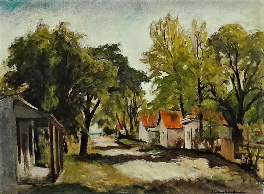 LARGE OIL ON CANVAS OF A VILLAGE SCENE SIGNED - 2