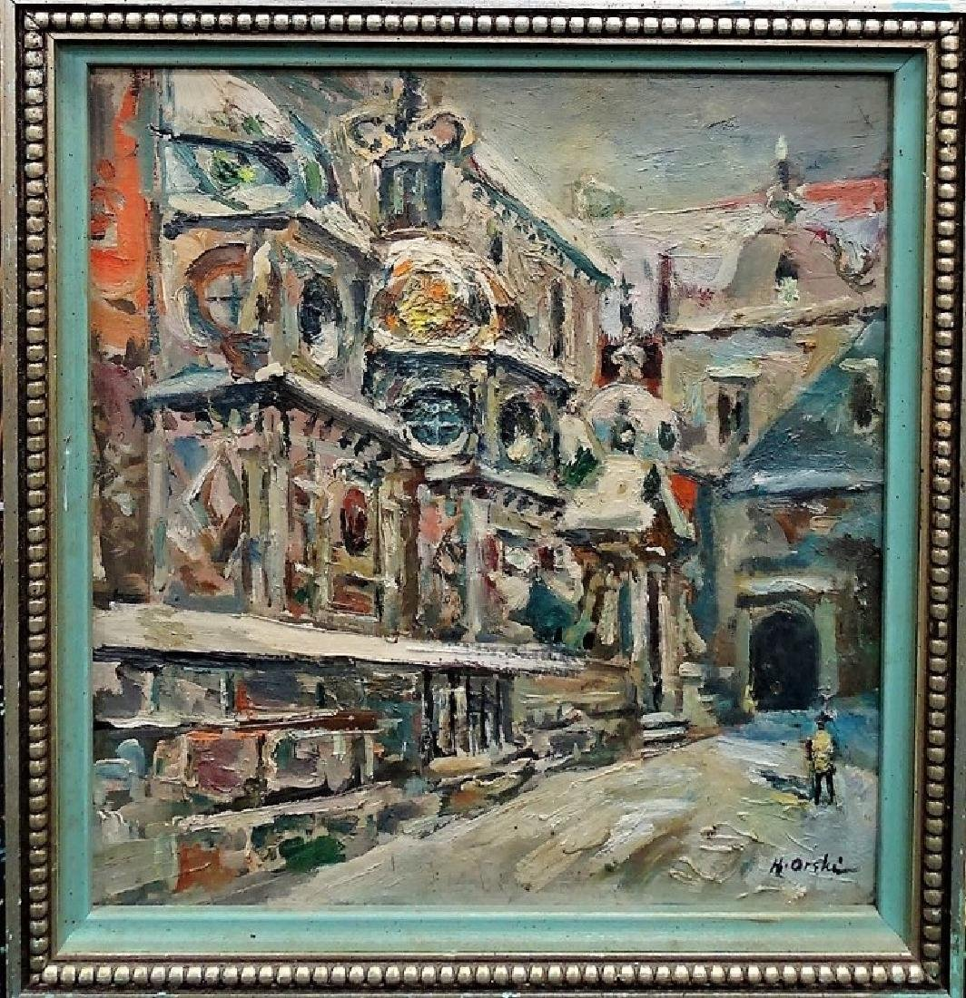 OIL ON BOARD OF A WINTER CITY SCENE SIGNED