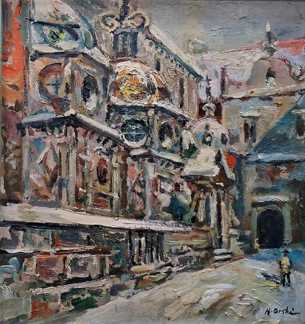 OIL ON BOARD OF A WINTER CITY SCENE SIGNED - 2