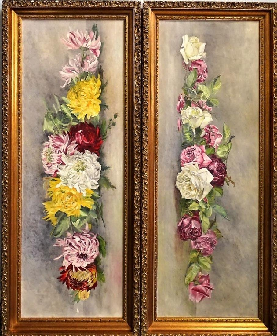 PAIR OF OIL ON CANVAS FLORAL PAINTINGS