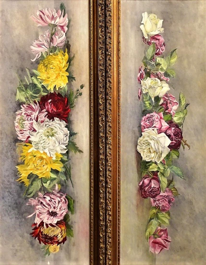 PAIR OF OIL ON CANVAS FLORAL PAINTINGS - 2