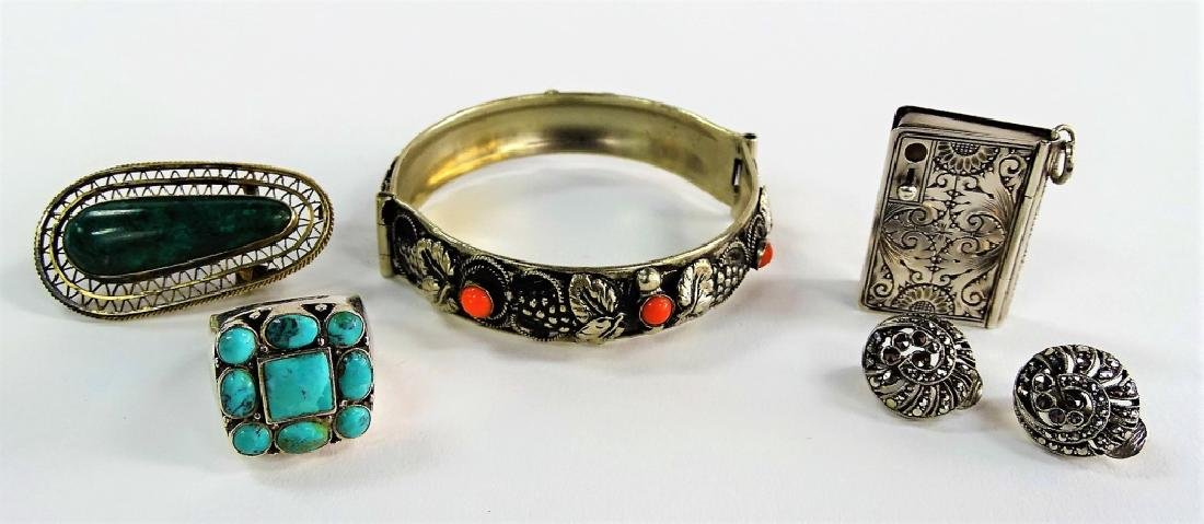 5PC LOT OF STERLING JEWELRY & TRINKET ITEMS