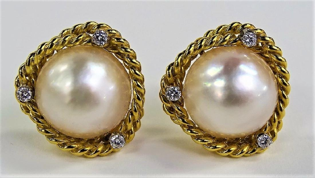 PR CELLINO 18KT YG MABE PEARL & DIAMOND EARRINGS