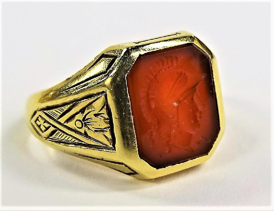 VINTAGE 14KT YELLOW GOLD CARNELIAN INTAGLIO RING - 2