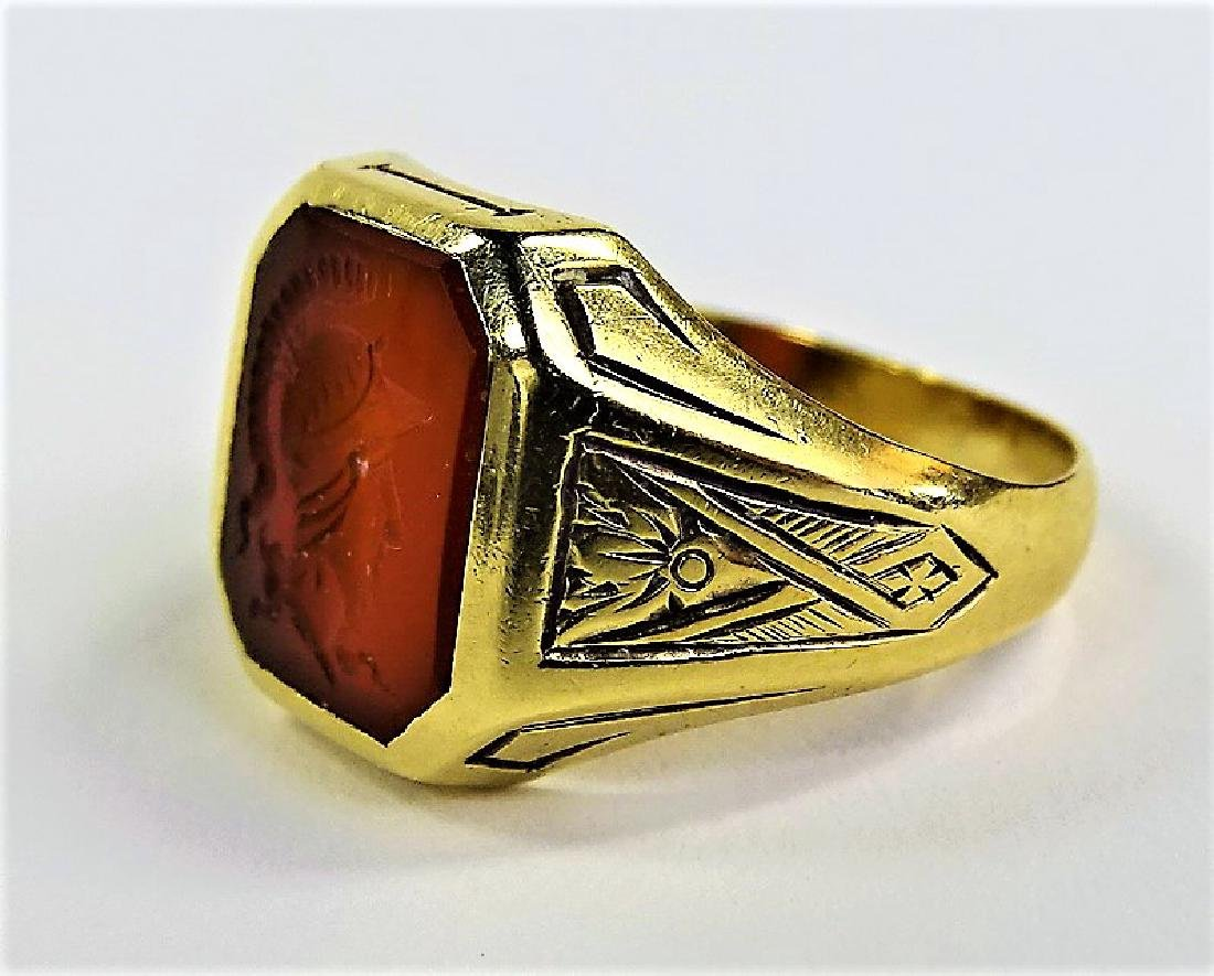 VINTAGE 14KT YELLOW GOLD CARNELIAN INTAGLIO RING - 3