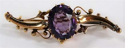 VINTAGE 14KT YELLOW GOLD  AMETHYST PIN