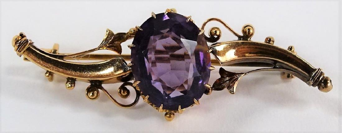 VINTAGE 14KT YELLOW GOLD & AMETHYST PIN