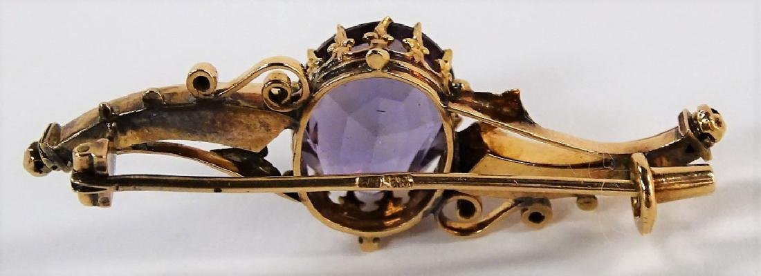 VINTAGE 14KT YELLOW GOLD & AMETHYST PIN - 2