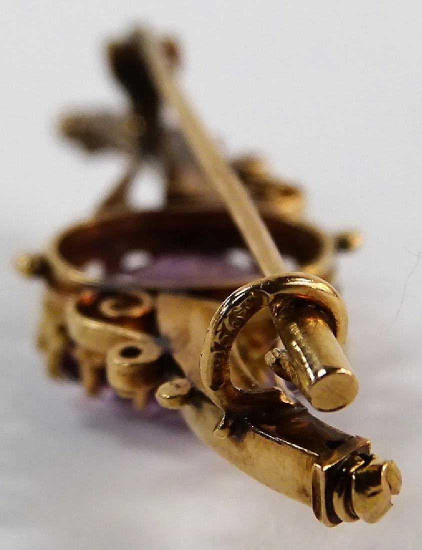 VINTAGE 14KT YELLOW GOLD & AMETHYST PIN - 3