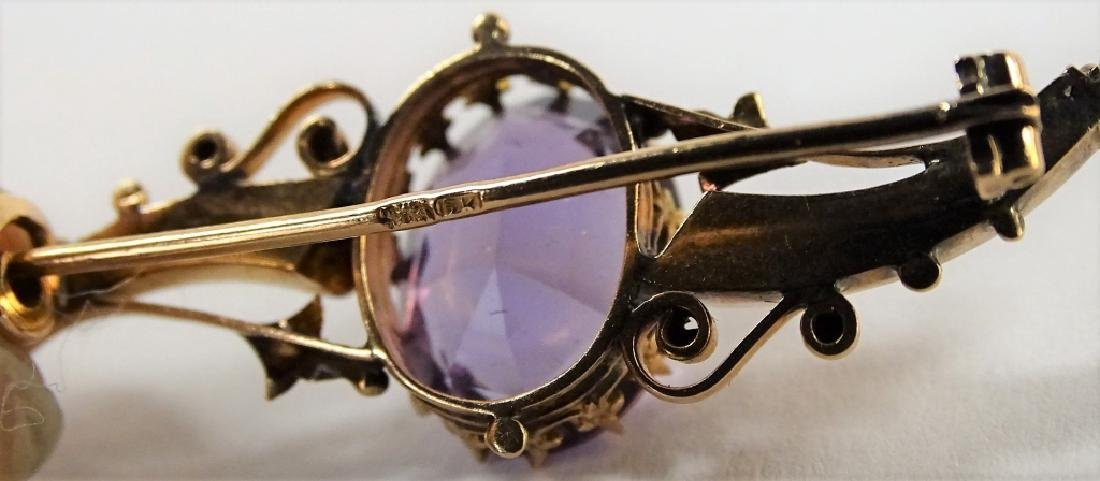 VINTAGE 14KT YELLOW GOLD & AMETHYST PIN - 4