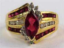 LADIES FANCY 14KT YG RUBY  DIAMOND RING