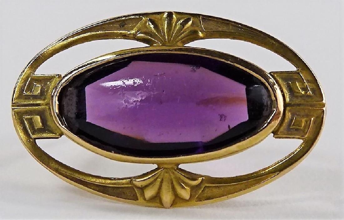 VINTAGE 10KT YELLOW GOLD & AMETHYST PIN
