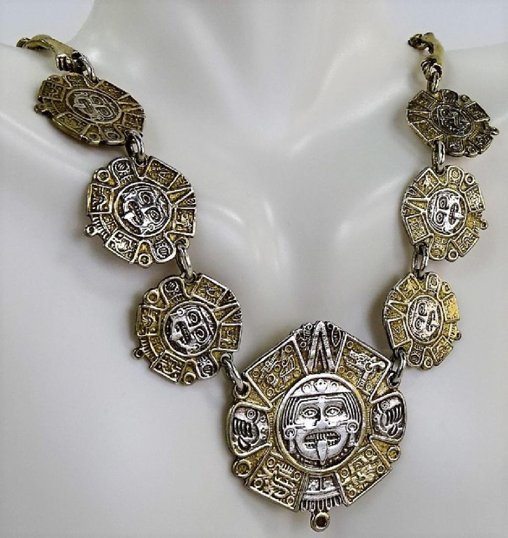 RARE TAXCO MEXICO STERLING SILVER CHARM NECKLACE - 2