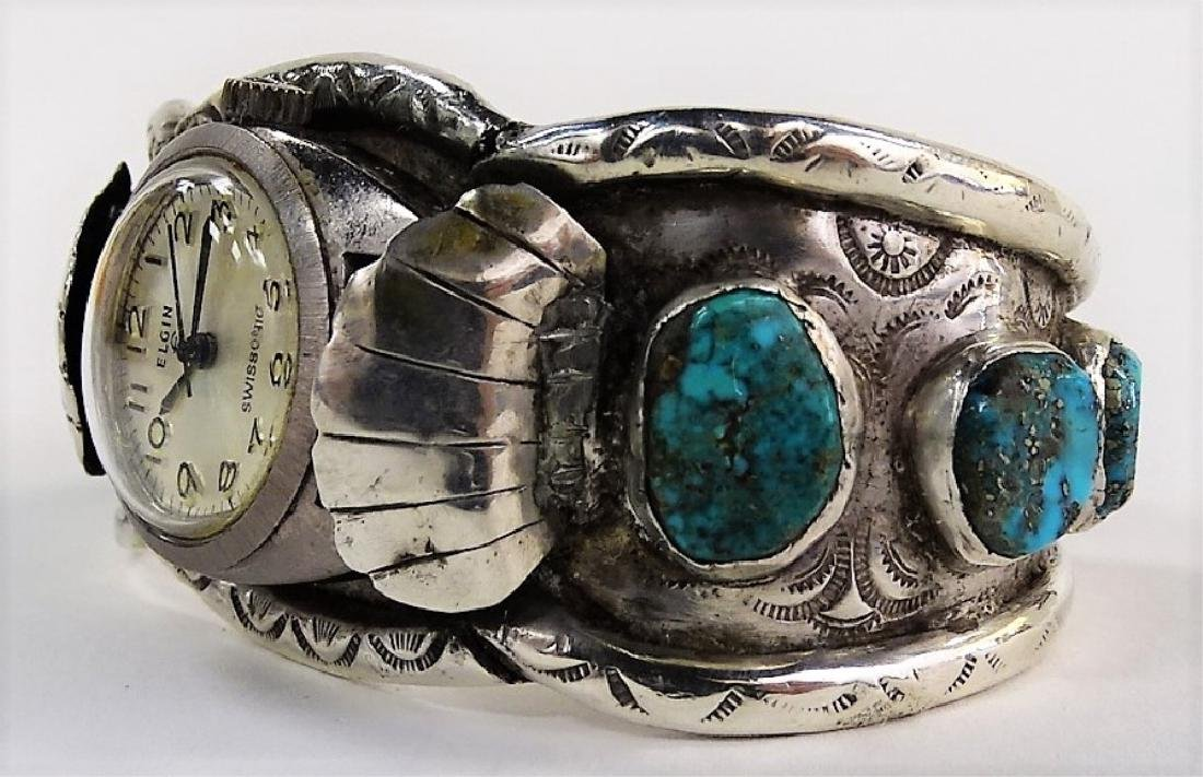 VTG NAVAJO CRAFTED STERLING WATCH CUFF BRACELET - 3