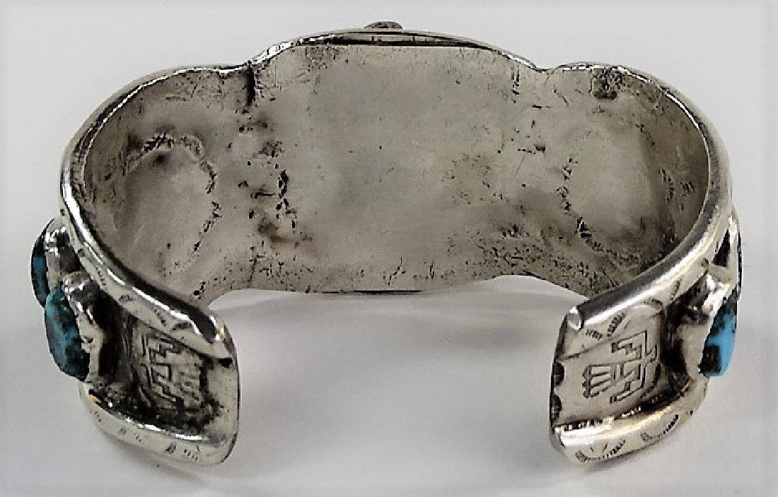 VTG NAVAJO CRAFTED STERLING WATCH CUFF BRACELET - 4