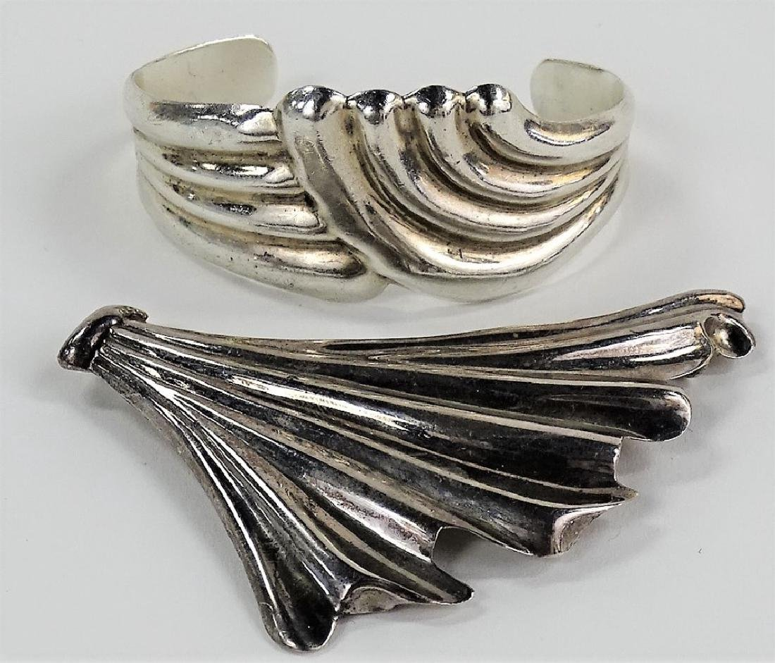 2PCS TAXCO MEXICO STERLING SILVER JEWELRY ITEMS