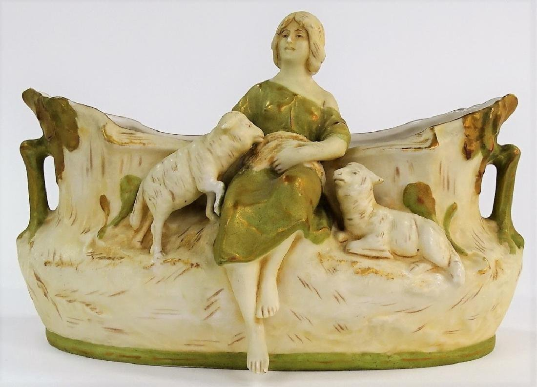 ANTIQUE ART NOUVEAU ROYAL DUX WOMAN WITH LAMB - 2