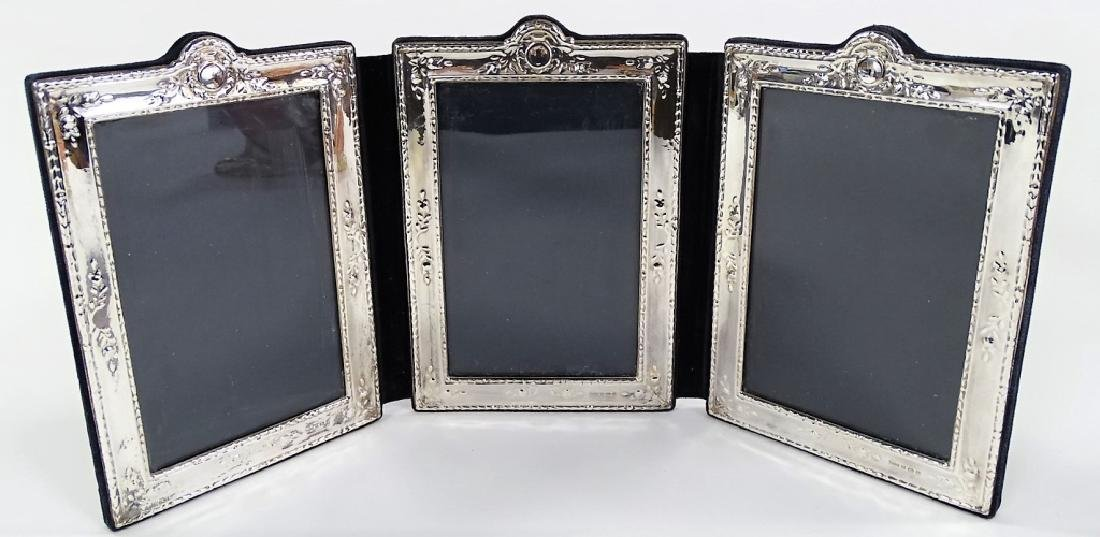 ANTIQUE ENGLISH STERLING TRI-FOLD PICTURE FRAME