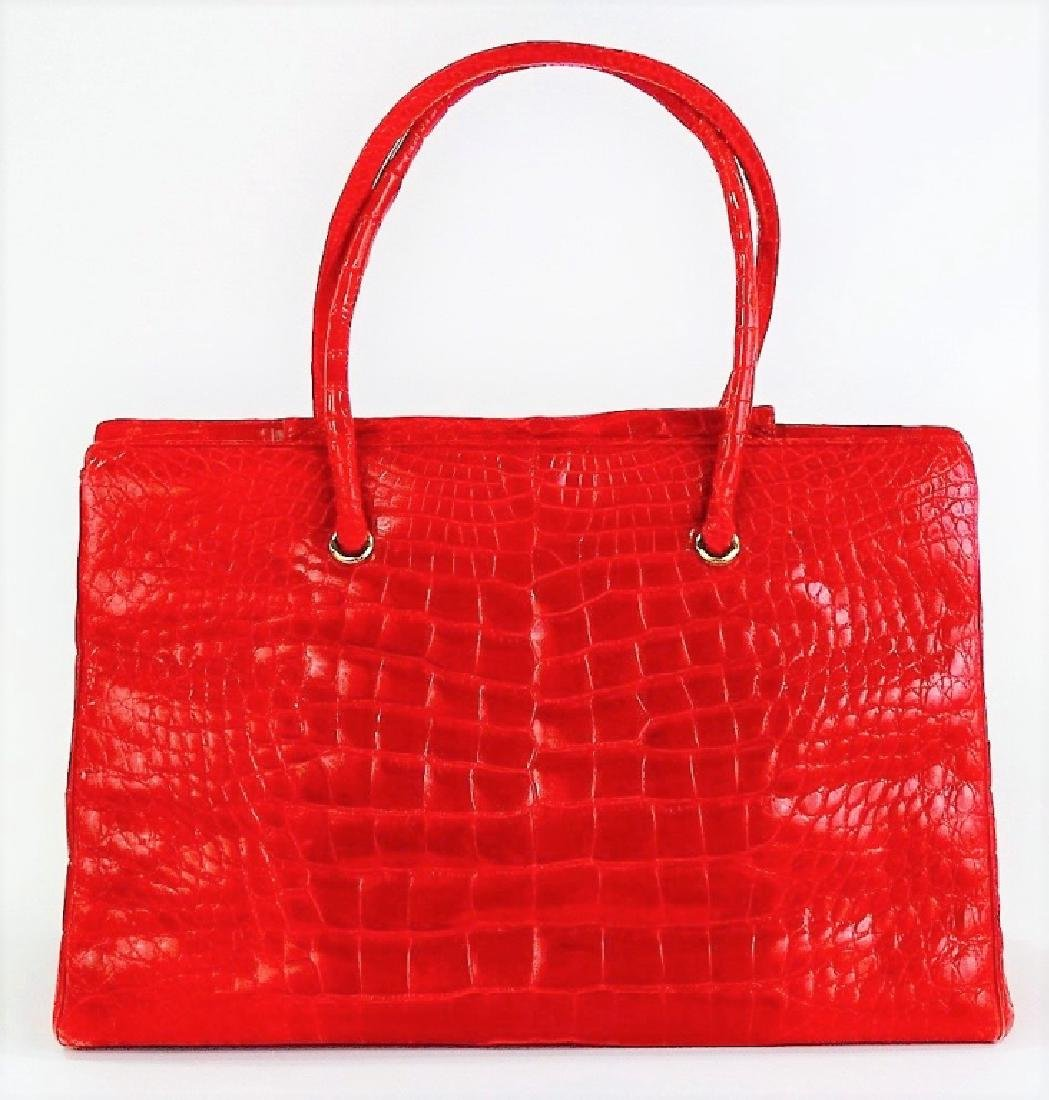 JUDITH LEIBER AUTHENTIC RED ALLIGATOR HANDBAG