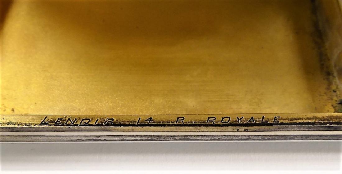 ANTIQUE LENOIR 900 SILVER ENAMEL COMPACT - 5