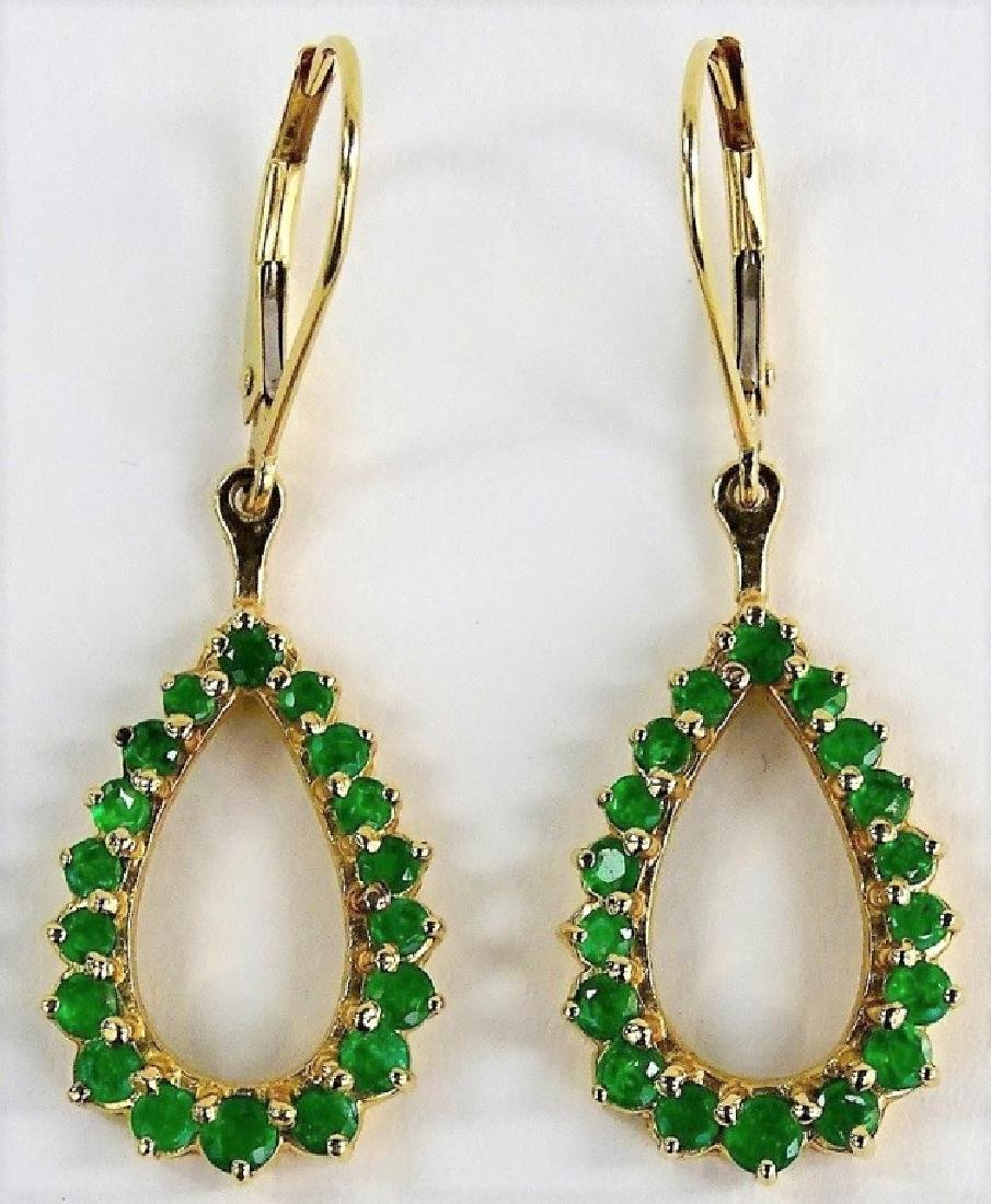 14KT Y GOLD AND EMERALD LADIES EARRINGS