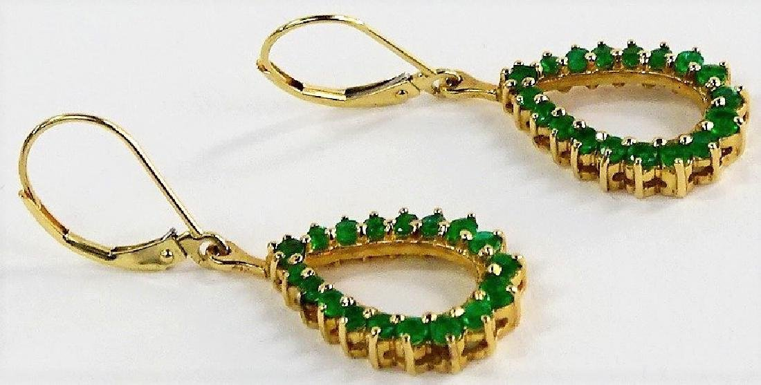 14KT Y GOLD AND EMERALD LADIES EARRINGS - 2