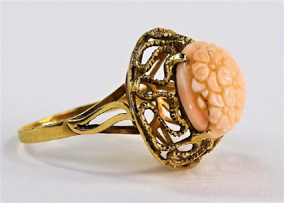14KT Y GOLD AND ANGEL SKIN CORAL RING - 2