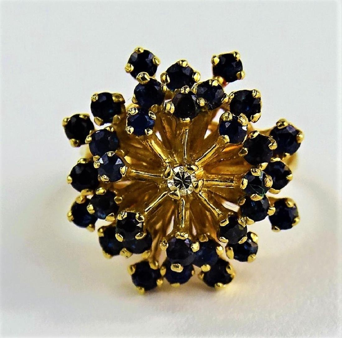 14KT Y GOLD DIAMOND AND SAPPHIRE COCKTAIL RING