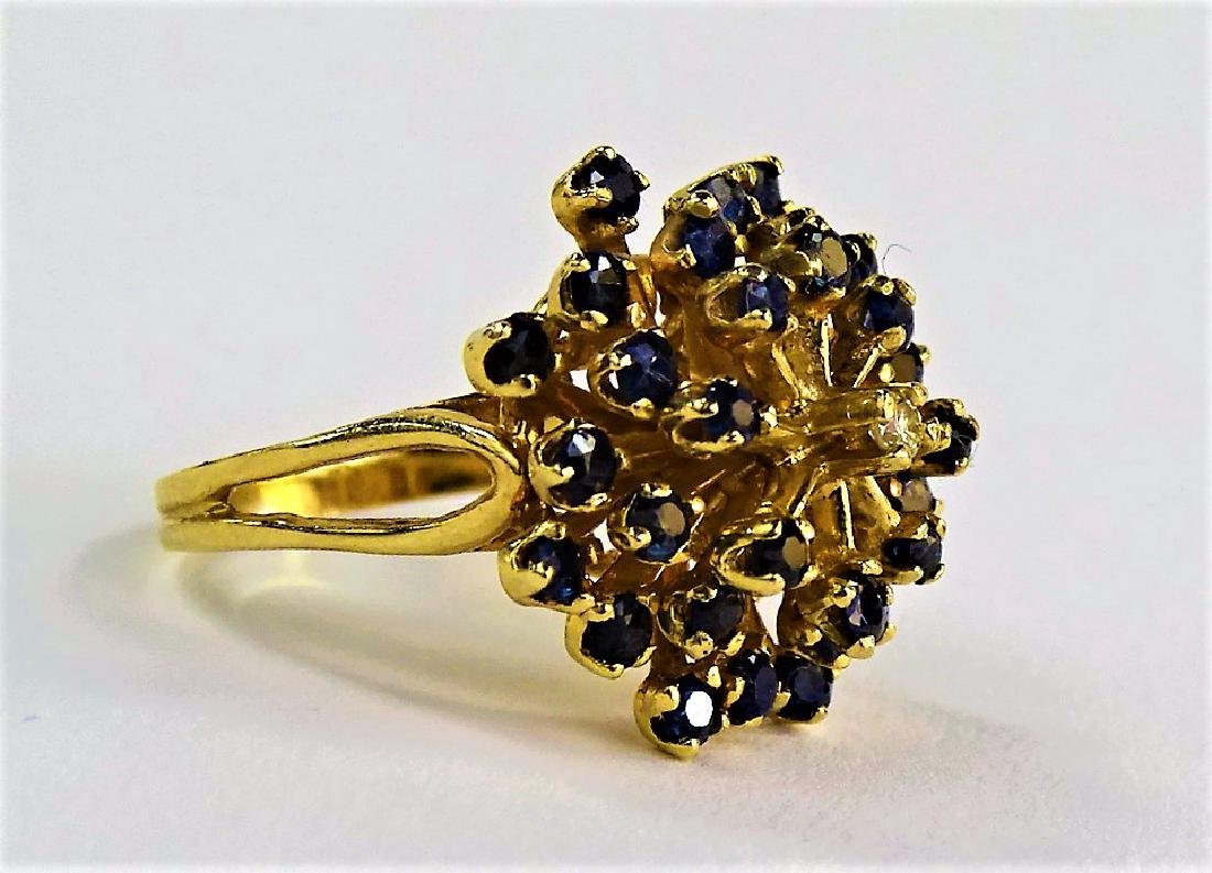 14KT Y GOLD DIAMOND AND SAPPHIRE COCKTAIL RING - 2