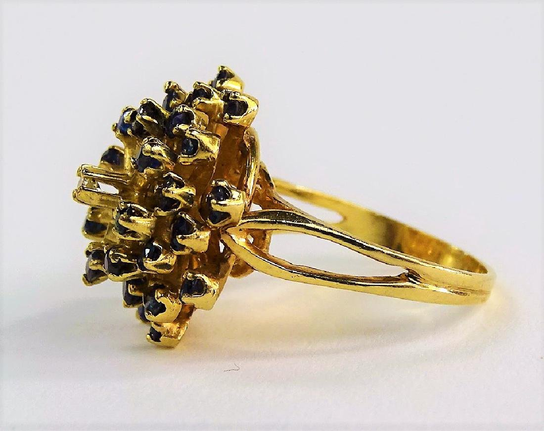 14KT Y GOLD DIAMOND AND SAPPHIRE COCKTAIL RING - 3