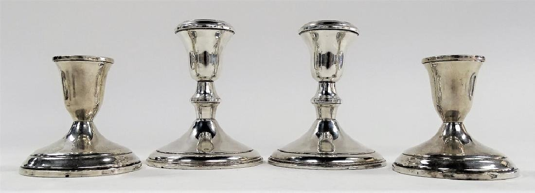 2PRS ANTIQUE WEIGHTED STERLING SILVER CANDLESTICKS
