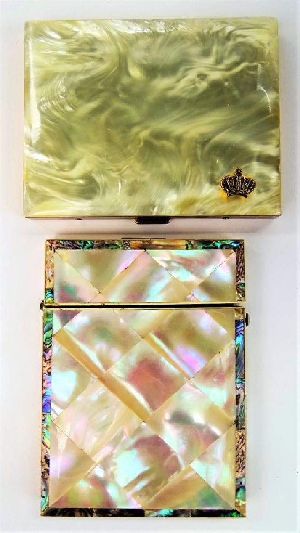 LOT OF 2 VINTAGE MOTHER OF PEARL CASES