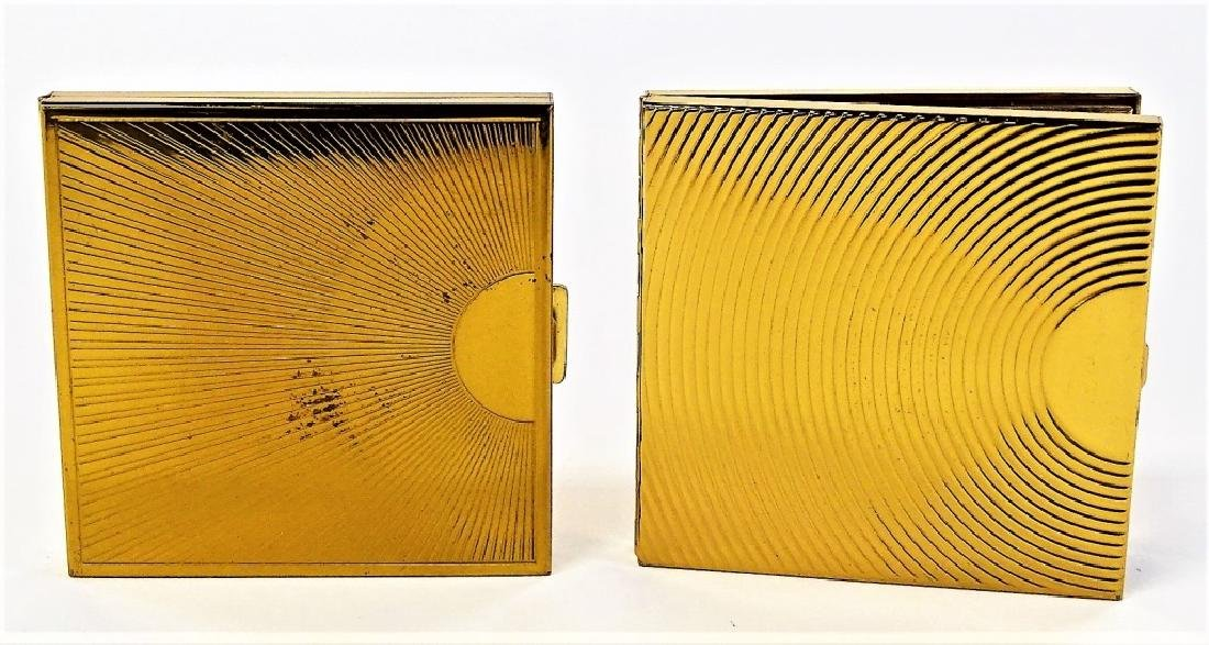 LOT OF 2 DUNHILL GOLDTONE METAL COMPACT CASES