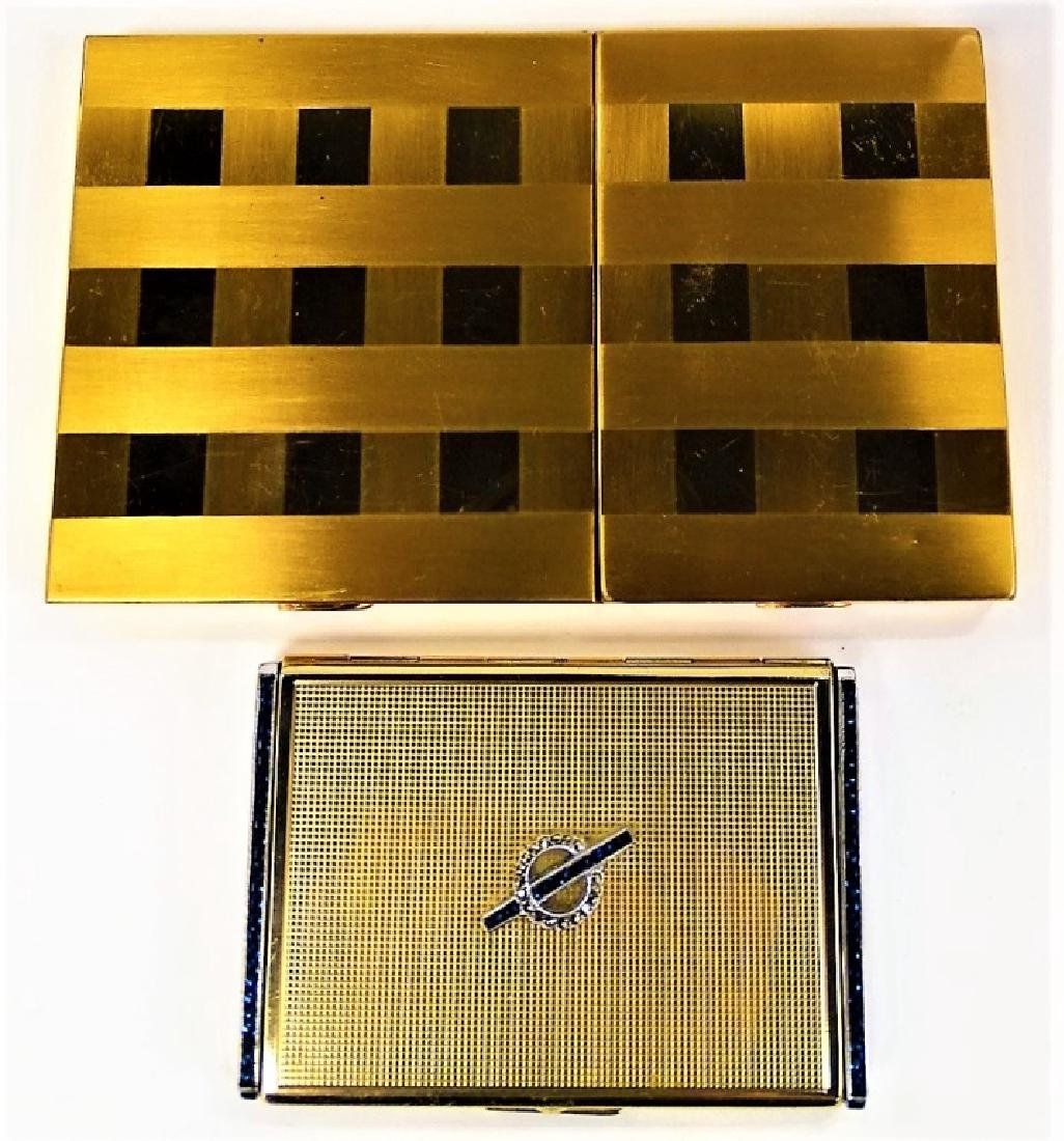 LOT OF 2 DECO GOLDTONE METAL CASES
