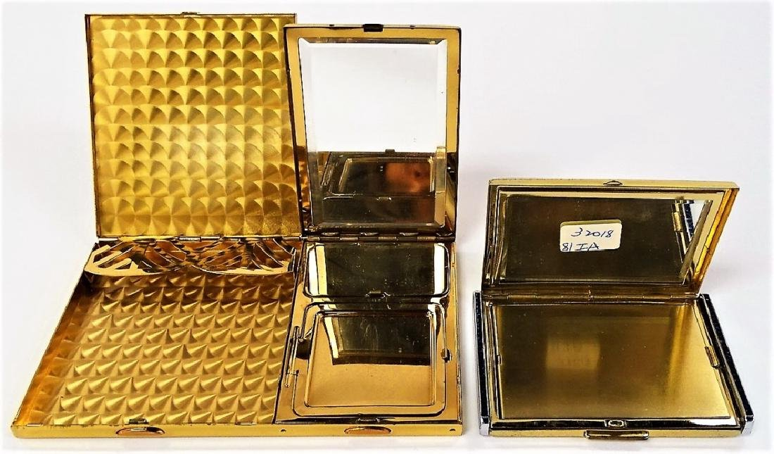 LOT OF 2 DECO GOLDTONE METAL CASES - 3